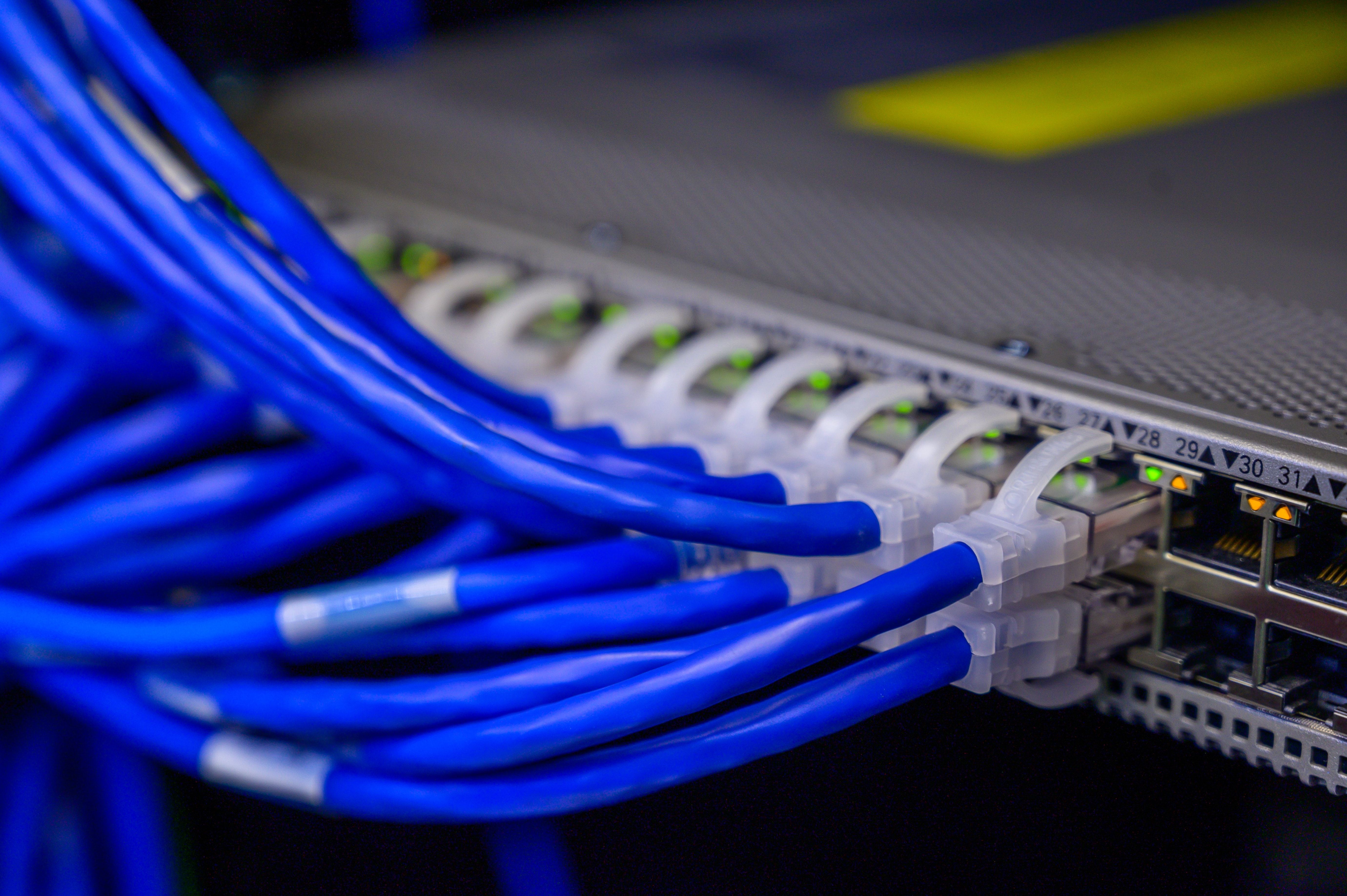 structured cabling installation, cat5 and cat6 cables in a server